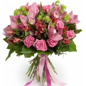 Букет из розовых роз, орхидеи и альстромерии R001