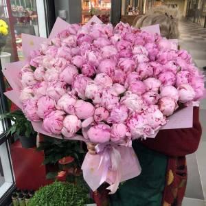 Букет 75 розовых пионов с оформлением R1118