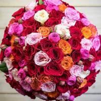 Букет из 51 пионовидной розы с оформлением R158