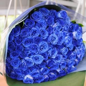 Букет 59 синих роз в упаковке R663
